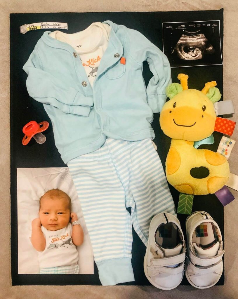 memory shadow box of baby collectables