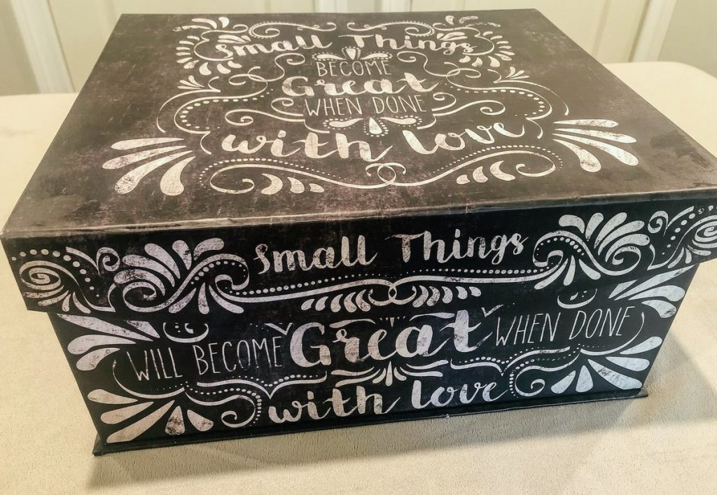 black memory box with white writing