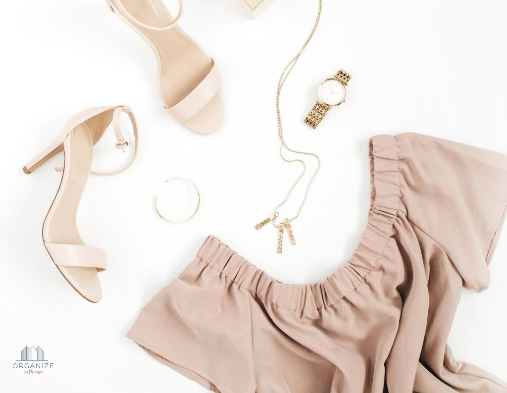 neutral minimalist outfit with gold shoes and jewelry